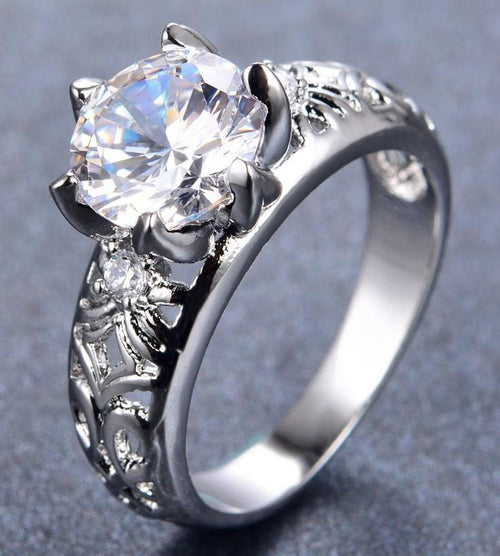 K3BMHOSB 10KT White Gold Filled Round CZ Ring