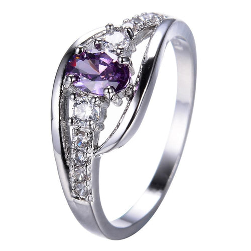 K4NN5W27 White Gold Filled Oval Purple Amethyst Ring