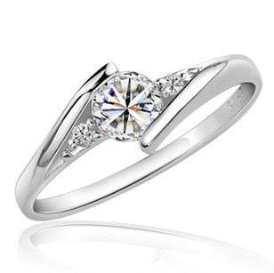 K742ZTGS Silver Plated CZ Ring
