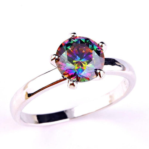 KGGE0NHO 18K Gold White Gold Plated Rainbow CZ Ring