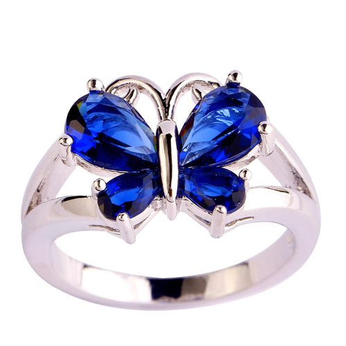 KI7GO4MT 18K Gold White Gold Plated Butterfly Blue Sapphire CZ Ring