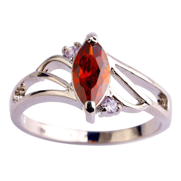 KIKJAJXO 18K Gold White Gold Plated Red Garnet CZ Ring