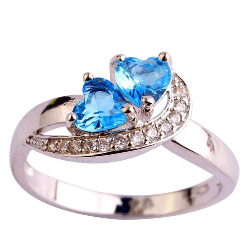 KKBQKE75 18K Gold White Gold Plated Double Heart Blue Topaz CZ Ring