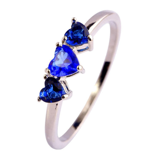 KKMZGZH3 18K White Gold Plated Blue Sapphire Triple Heart CZ Ring
