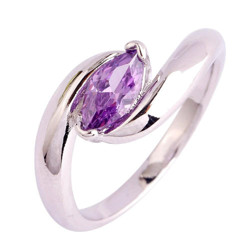 KL8X13CQ 18K White Gold Plated Amethyst CZ Ring