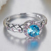 KQ5A84XT 18K White Gold Plated Blue and Pink Topaz CZ Ring