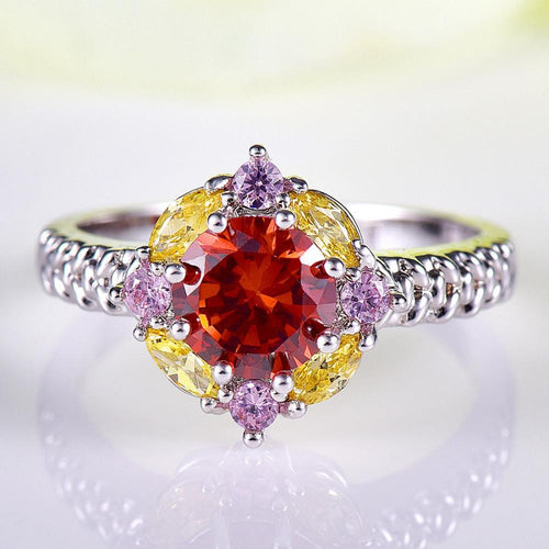 KQSYX3DS 18K White Gold Plated Garnet CZ Ring