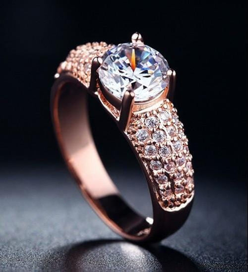KSH2W0FW Rose Gold Plated Round CZ Ring