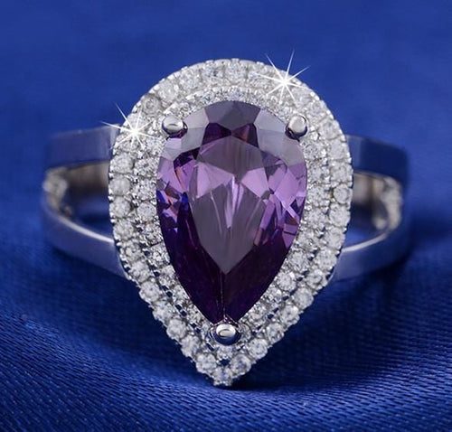 KUO2V8W8 925 Sterling Silver Water Drop Amethyst CZ Ring
