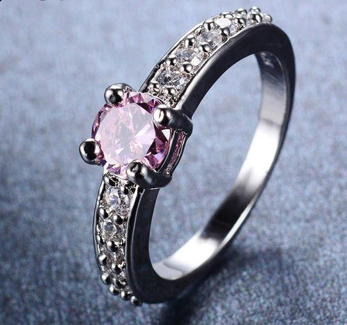 KZGAOOVQ 10KT White Gold Filled Round Cut Pink CZ Ring