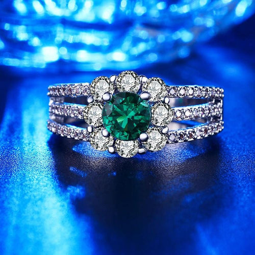 L1SZOG1Y Silver Plated Emerald CZ Ring