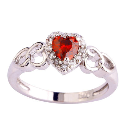 LA7VPLLT Silver Plated Red Garnet Heart CZ Ring