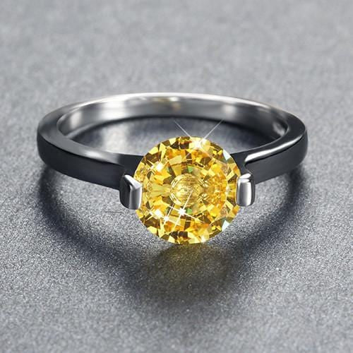 LD9X7JFD 925 Sterling Silver Yellow Citrine Round Crystal CZ Ring