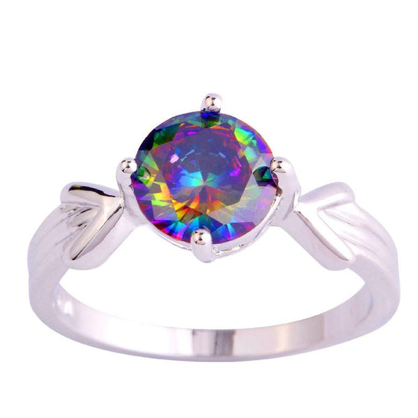 LLFJDRF4 18K Gold White Gold Plated Rainbow CZ Ring