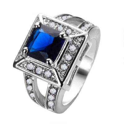LQDUO4S9 White Gold Filled Blue Sapphire CZ Ring