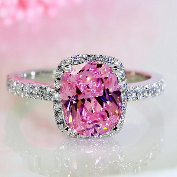 LS8V44VR 925 Sterling Silver 3ct Pink Sapphire CZ Ring