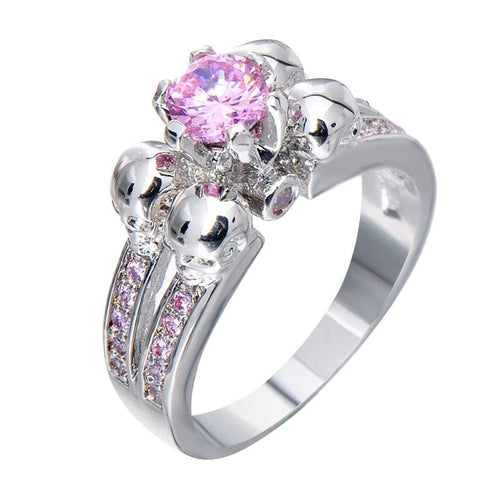 M2IOOWRU White Gold Filled Pink CZ Skull Ring