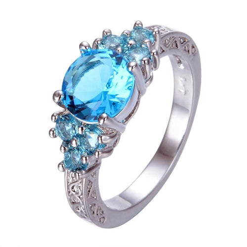 M2NEIYTH 10KT White Gold Filled Round Vintage Style Light Blue CZ Ring