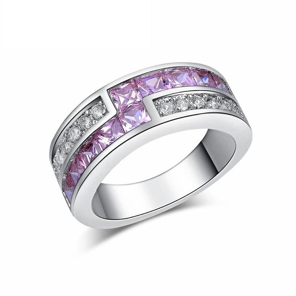 M84HWLWK Silver Filled Pink CZ Ring