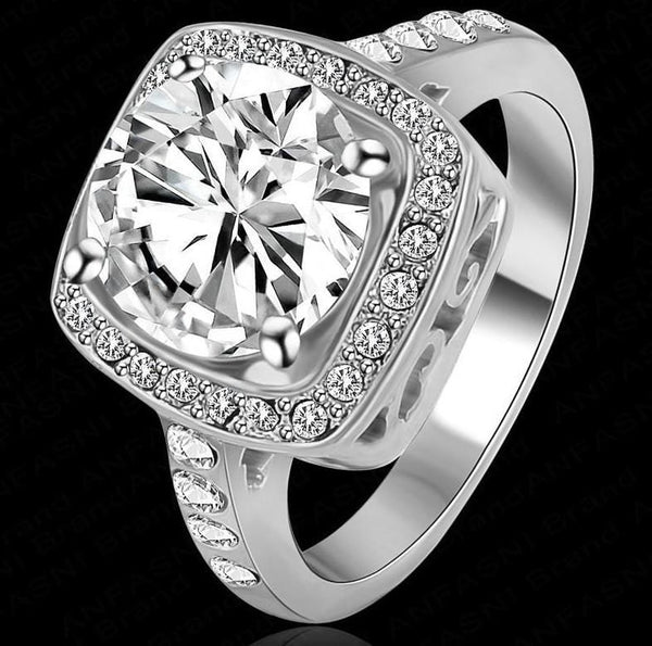 MDAWP8B4 White Gold Plated CZ Ring