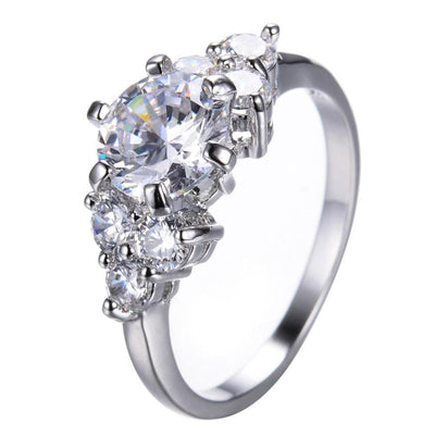 MDCBOHUZ White Gold Filled Crystal CZ Ring