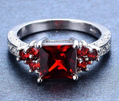ME9JSD40 White Gold Filled Ruby Crystal CZ Ring