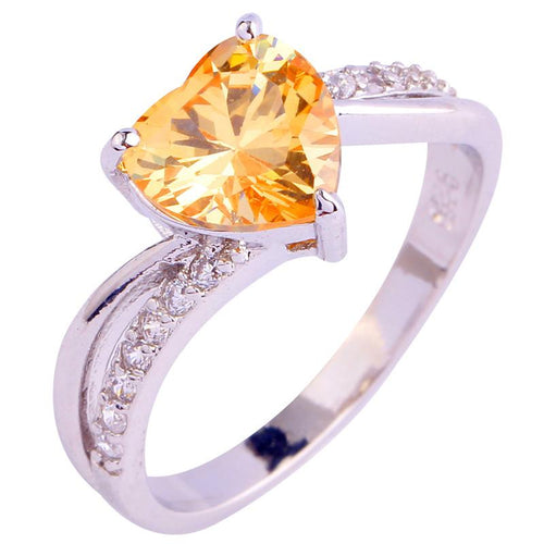 MH8CW7KA Silver Plated Heart Champagne Morganite Ring