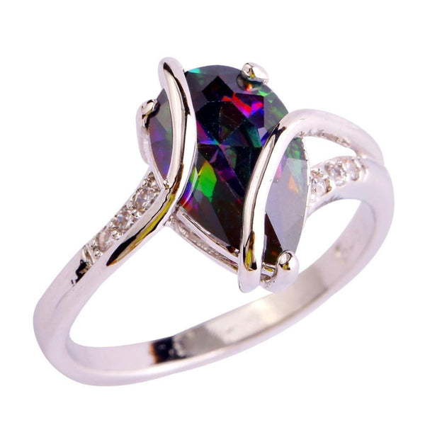MHRBN315 18K White Gold Plated Water Drop Rainbow Sapphire CZ Ring