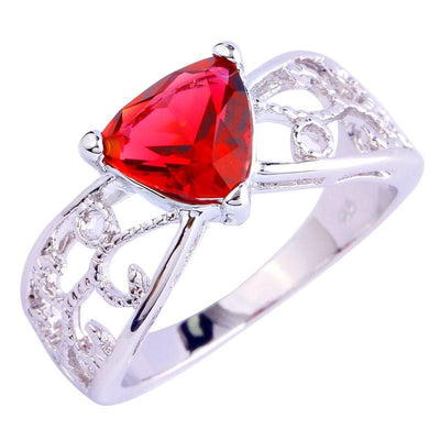 MPC04XAH 18K Gold White Gold Plated Ruby CZ Ring
