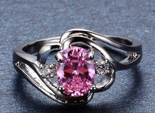 MSYH5C00 White Gold Filled Pink CZ Ring
