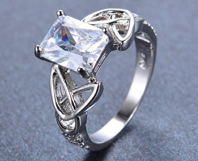 MURRDQ04 White Gold Filled Crystal CZ Ring