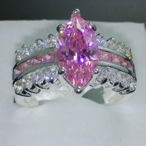 MYLOVY71 925 Sterling Silver Pink Sapphire CZ Ring