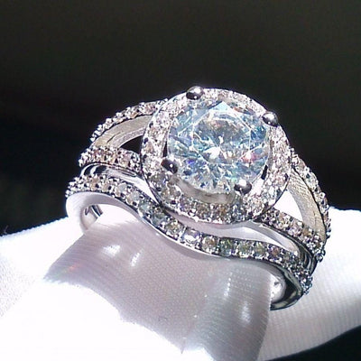N14Q2LCS 10KT White Gold Filled CZ Ring Set