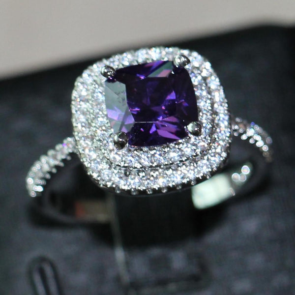 N4ITU7XP 925 Sterling Silver Victoria Wieck Inspired 3ct Amethyst CZ Ring