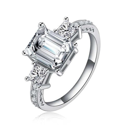 N93CI9CO White Gold Plated Three Stone CZ Crystal Ring