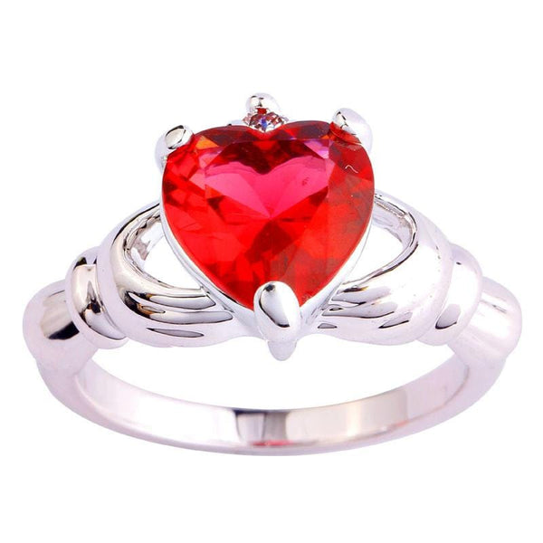 NDM2D7C4 18K Gold White Gold Plated Red Heart Claddagh CZ Ring