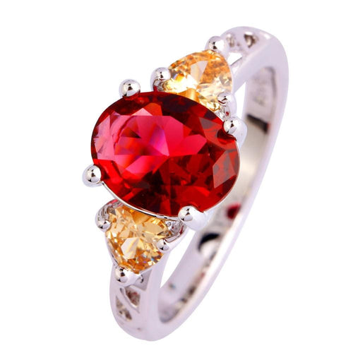 NGVIJAX2 18K Gold White Gold Plated Red Ruby CZ Ring