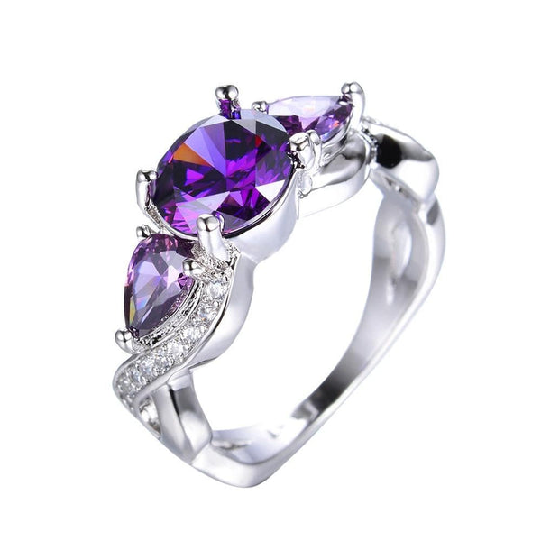 NHW1IJFZ White Gold Filled Purple Amethyst CZ Ring