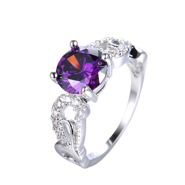 NK20Z0JF White Gold Filled Purple Amethyst CZ Ring
