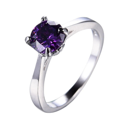 NKDSQ4UD White Gold Filled Purple Amethyst CZ Ring
