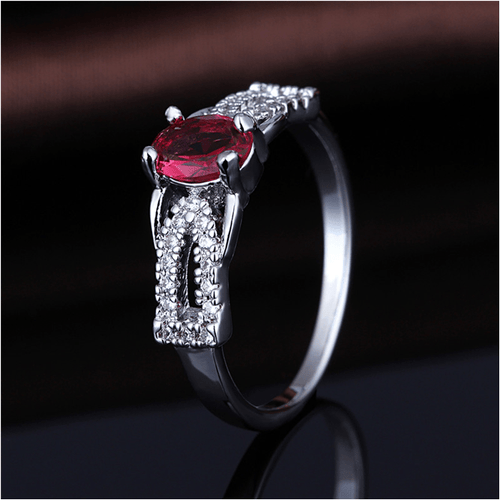 NM7HBUV1 White Gold Plated Ruby CZ Ring