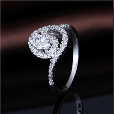 NO8WW286 White Gold Plated CZ Ring