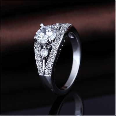 NUDK7025 White Gold Plated CZ Ring