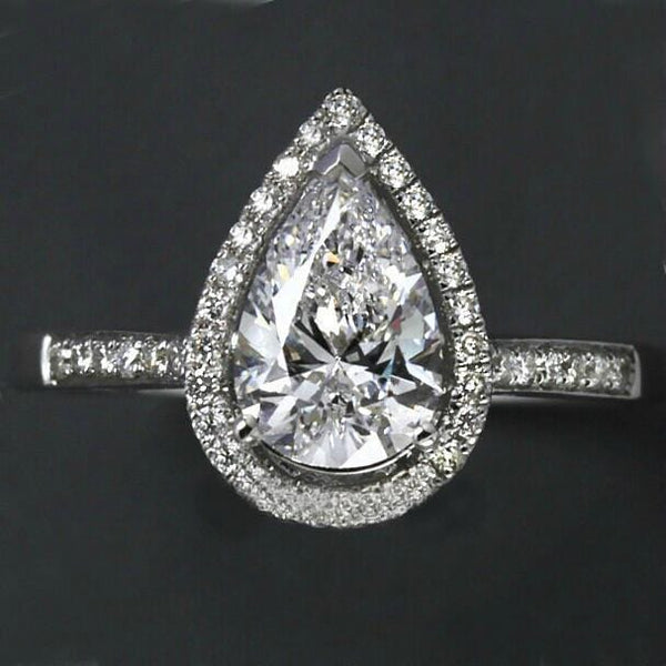 NVA6SFR6 925 Sterling Silver Pear Cut CZ Ring