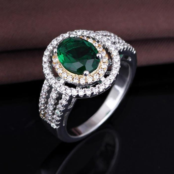 O16GC3U4 925 Sterling Silver Green AAA CZ Ring