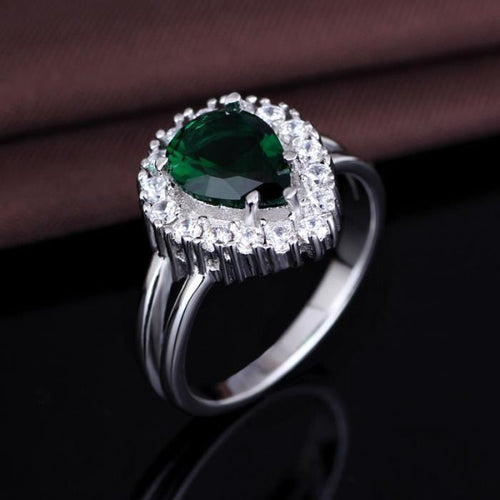 O38JFHHQ 925 Sterling Silver Green Emerald Teardrop AAA CZ Ring