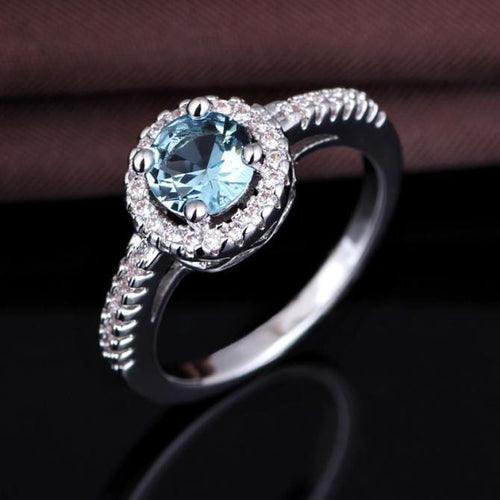 O6ZSM10H 925 Sterling Silver Aquamarine AAA CZ Ring