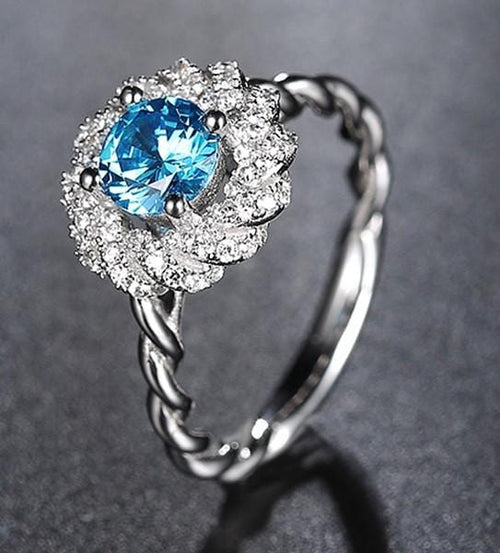 ODQHH2L8 925 Sterling Silver Blue Micro Paved CZ Ring