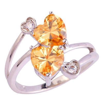 OKEQ2TT3 18K Gold White Gold Plated Double Heart Champagne Morganite Ring