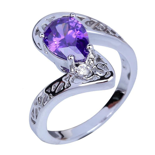 OMFSJPP4 Silver Plated Purple Amethyst CZ Ring